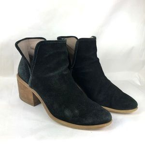 Bp booties black leather size 8 suede lined